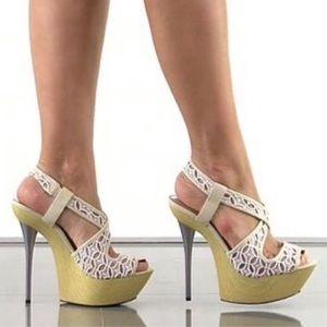 Bebe Celeste Lace Peep Toe Heels